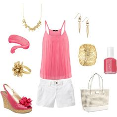 Pink and white, created by mmmathiews on Polyvore#Repin By:Pinterest++ for iPad#