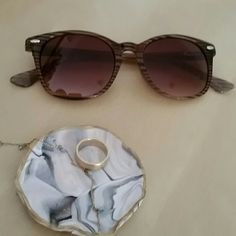 ***LOFT Sunglasses ( 4 for $ 9 sale) Wayfarer style, horizontal stripes on the frame/ It's been gently used, very faint scratches, but nothing visible from the front/ I'll ship it in the soft case it came with LOFT Accessories Sunglasses