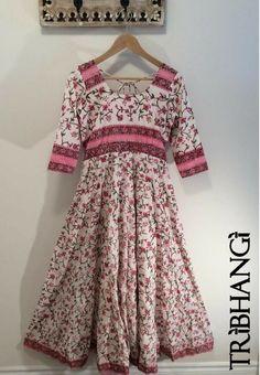 Pink and white floral Jaipur block print cotton Anokhi style anarkali, bohemian maxi dress