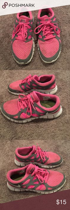 Nike Free run 2 shoes Nike Free run 2 pink and gray athletic shoes. Size 8.5 good condition- could use a washing but no tears or holes Nike Shoes Athletic Shoes