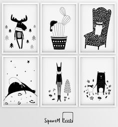 Something new in the collection: Black and white nursery prints, monochrome wall art, kids posters, scandinavian design for wall