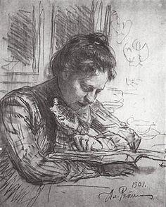 Reading (Portrait of Natalia B. Nordman), 1901 by Ilya Repin. Realism. portrait