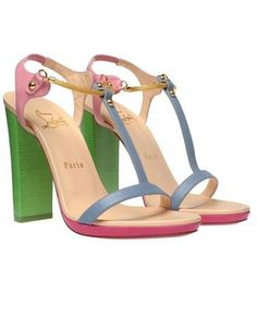 ShopStyle by POPSUGAR: Christian Louboutin'Sylvieta' Pastel Leather and Snake Chain Sandals