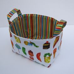Fabric Storage Container Organizer Bin Basket - Very Hungry Caterpillar and Treats. $18.00, via Etsy.