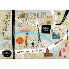 Lovely map of from German illustrator, Martin Haake. Lovely map of from German illustrator, Martin Haake. Art And Illustration, Graphic Design Illustration, Illustrations Posters, Berlin Mitte, Berlin Germany, Travel Europe Cheap, Web Design, City Maps, Grafik Design