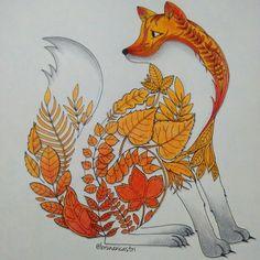 "Képtalálat a következőre: ""johanna basford enchanted forest"" Coloring Book Art, Colouring Pages, Adult Coloring, Enchanted Forest Coloring Book, Johanna Basford Secret Garden, Cute Fox, Colouring Techniques, Colored Pencils, Drawings"