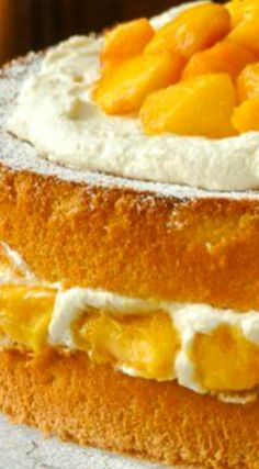 Bourbon Peach Shortcake ~ A light as air sponge cake gets layered with vanilla whipped cream and peaches which have been marinated in vanilla and bourbon. Mini Cakes, Cupcake Cakes, Cupcakes, Just Desserts, Delicious Desserts, Yummy Food, Peach Shortcake, Cake Recipes, Dessert Recipes