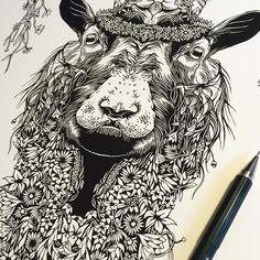 """Flower Ram. Prints available to buy on my website shop #illustration #inktober #ram #flowers"""