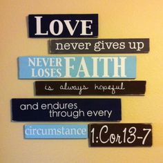 verse on the wall with different colors and boards.