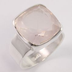 925 Sterling Silver Handmade Ring Size US 9 Natural ROSE QUARTZ Cushion Gemstone #Unbranded
