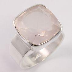 925 Sterling Silver Handmade Ring Size US 9 Natural ROSE QUARTZ Cushion Gemstone #Unbranded
