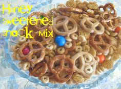 honey sweetened snack mix...on a funny note there is a laughing face in that snack mix.