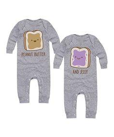 Look at this #zulilyfind! Athletic Heather Peanut Butter & Jelly Playsuit Set - Infant #zulilyfinds
