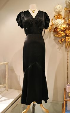 1930's Silk Charmeuse Evening Gown