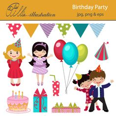 This colorful Birthday party set comes with 10 cheerful cliparts.     All graphics are made in High Quality 300 dpi and come in JPG, PNG & EPS format.     This clipart is perfect for your invitations, scrabooking, card design, paper crafts, Web Design and Many More!