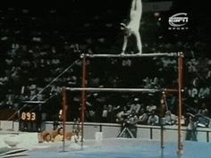 Nadia comaneci-first perfect ten in olympic history (1976 Montreal).