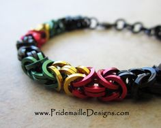 Square Wire Rastafarian Byzantine Bracelet - Chainmaille Jewelry