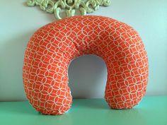Boppy Cover - Orange and White Circle Cotton Front, Soft Minky-Backed - Girl Baby Shower Gift, Nursing pillow, Slipcover