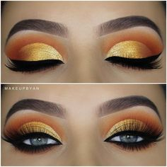 Awesome gold eyes makeup - make up - Eye-Makeup Makeup Eye Looks, Beautiful Eye Makeup, Pretty Makeup, Love Makeup, Makeup Inspo, Beauty Makeup, Makeup Ideas, Makeup Tips, Awesome Makeup