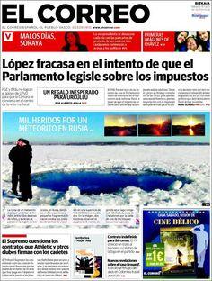 Los Titulares y Portadas de Noticias Destacadas Españolas del 16 de Febrero de 2013 del Diario El Correo ¿Que le parecio esta Portada de este Diario Español?