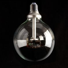 IndustrialVintage Style LED125mm Silver Dipped Half Mirror Globe Lamp Light Bulb