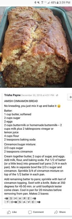 bread All Time Easy Cake : Amish cinnamon bread,amish bread All Time Easy Cake : Amish cinnamon bread, Baking Recipes, Dessert Recipes, Dutch Recipes, Amish Bread Recipes, Baking Breads, Pasta Recipes, Cake Recipes, Cinnamon Bread, Cinnamon Rolls