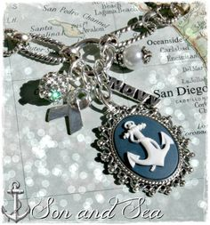 US Navy anchor cameo cluster necklace by Son and Sea by sonandsea, $28.00 deployment navy mom milso wife sailor