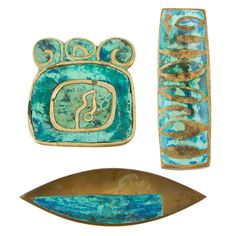 1950's turquoise and brass inlay trays by Pepe Mendoza.