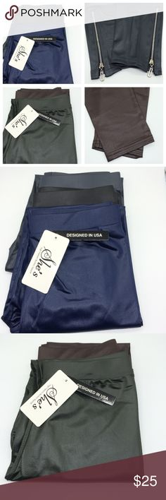 Great deal!! 5 Leather Leggings $25 3 stretchy Leather zipper Leggings ✔️Colors: Navy, Charcoal, Black  ▪️length(from the waist to the bottom part: 35.5 inches ▪️waist size: 27 inches all around with out stretch  ⬛️size: Free   2 stretchy Leather Leggings ▪️length(from the waist to the bottom part: 35.5 inches ▪️waist size: 27 inches all around with out stretch  ⬛️size: Free  ✔️Zippers on all 3 pair(picture#2) ✔️No zippers on the 2 pair(picture#3)  She's high fashion women apparel Designed…