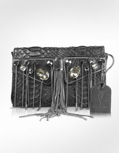 Maison du Posh  One Another - Fringed Python Leather Clutch