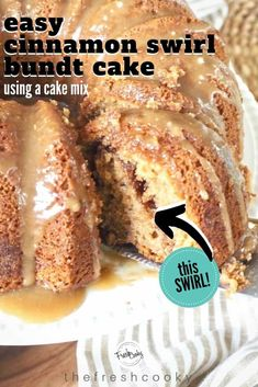 This simple, moist, Cinnamon Swirl Bundt Cake is the best! This easy coffee cake recipe, made using a boxed mix is perfect for your next gathering. Homemade Cake Recipes, Best Cake Recipes, Cupcake Recipes, Dessert Recipes, Breakfast Recipes, Chocolate Desserts, Easy Desserts, Delicious Desserts, Cinnamon Desserts