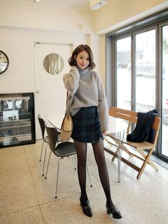Sweater + cute skirt