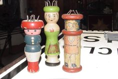 Antique Knitting Spool People