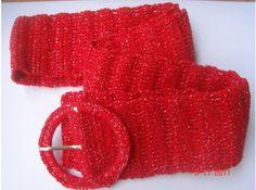 Cinto de crochê vermelho                                                                                                                                                                                 Mais