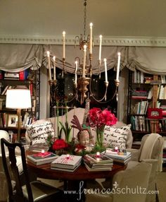 Frances Schultz apartment at Christmas.  Love her taupe taffeta london shades.
