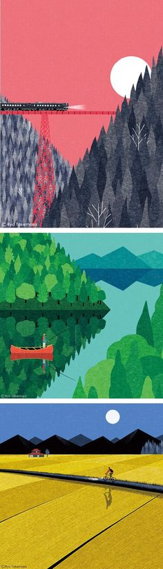 Takemasa Depicts the Beauty of Grandiose Settings by Japanese illustrator Ryo Takemasa. He is known for depicting mountains, lakes and fields.by Japanese illustrator Ryo Takemasa. He is known for depicting mountains, lakes and fields. Graphic Art, Graphic Design, Gig Poster, Photocollage, Illustrations And Posters, Japanese Art, Japanese Landscape, Landscape Art, Digital Illustration