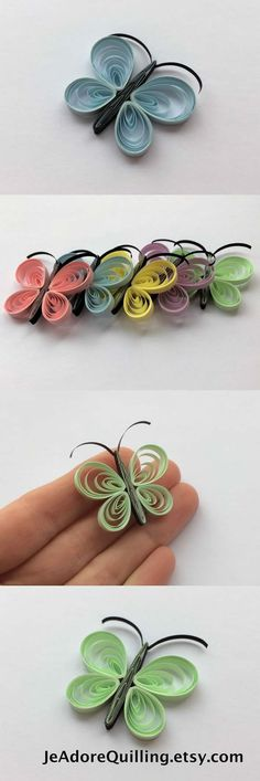 Quilled Butterflies Paper Quilling Art Confetti Scatter Ornament Gift Filler Easter Mothers Day Baby Bridal Shower Wedding Pastel Spring by Ирина Дубровская Arte Quilling, Quilling Butterfly, Paper Quilling Cards, Paper Quilling Patterns, Quilled Paper Art, Quilling Paper Craft, Paper Butterflies, Quilled Roses, Quilling Comb