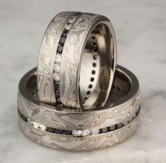 Black and white diamonds in mokume wedding rings #DiamondWeddingRingsforWomen