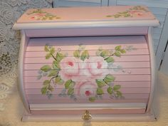HAND PAINTED ROLL TOP BREAD BOX hp roses chic cottage shabby vintage country art   GORGEOUS AND AVAILABLE ON EBAY.  ARTIST D.SOMMERS    I.D. sunny-sommers