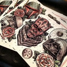 Star Wars tattoo, dot work with mandala Done by Paul Davies Loki