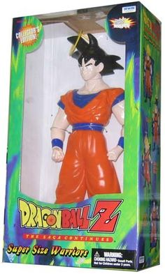 Dragonball Z Super Size Warriors Super Saiyan Goku. These enormous Dragonball Z figures are a collectors dream! Authentically detailed sculpting and coloring recreate the brave heroes of the Dragonball Z television series! Super Saiyan Goku, Paw Patrol, Halo Action Figures, Dbz Toys, Dragon Ball Image, Son Goku, Jurassic World, Warriors, Baseball Cards