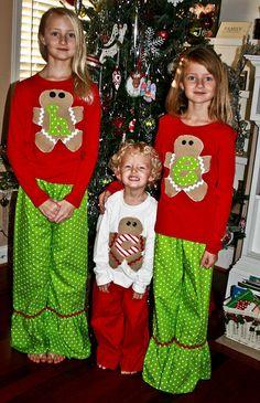 Christmas Pajama Set with Gingerbread boy and girl Christmas Pajamas for boys and girls brothers and sisters. $27.95, via Etsy.