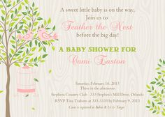 Birds in Tree Feather the Nest Baby Shower Invitation - Printable