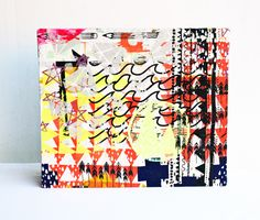 End of August - small stretched screen, one of a kind screen printed, drop cloth, wall art