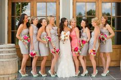 great color combo of grey Bridesmaid dresses, coral Matron of Honour dress and the bright coral peony bouquets with the Bride in white