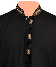 Tanzaib Black Hand Made Designing Collar Kurta Shalwar in Pakistan