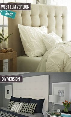 Build a tufted headboard. | 24 West Elm Hacks #DIY #headboard #tuftedheadboard