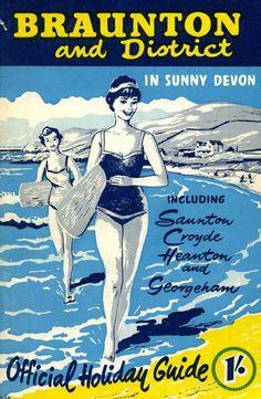 Braunton, Devon, U.K. Vintage beach travel posterღ...........réépinglé par Maurie Daboux웃
