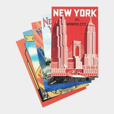 Vintage inspired NYC postcards