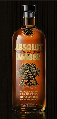 "Absolut Amber ""Oak Aged"" Vodka.  Can take a place next to the bourbon, scotch…"